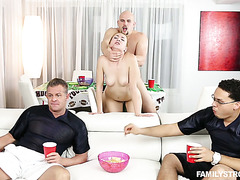 This sex crazed slut wasted no time cheating on her BF with his friend