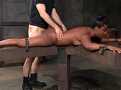 Voluptuous ebony slut likes doing kinky stuff in the dungeon