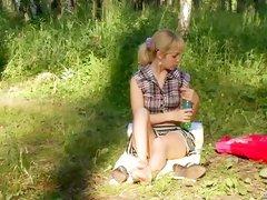 Sexy solo girl masturbates in the forest