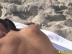 Busty beach girlfriend massaged before anal