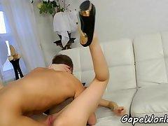 European babe sucking after analsex