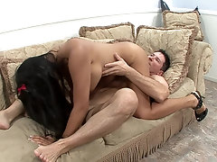 Thai woman spreads wide for a huge European dick