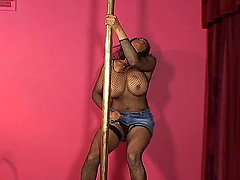 Ugly ebony stripper ends her act with some titjob and cum on tits in interracial POV video
