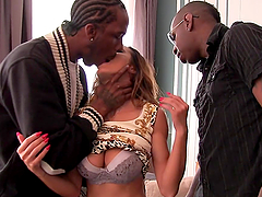Attractive Alice Romain Gets Her Asshole Destroyed By Two Big Black Cocks