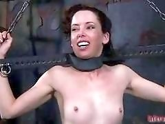 Bound girl receives whipping on her small tits BDSM movie
