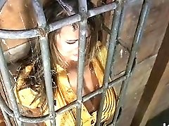 Slutty slave gets dominated and humiliated in the cage BDSM