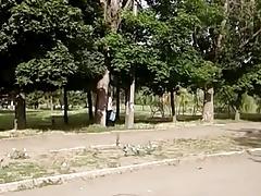 Man wanking in the Park
