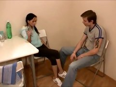 Skinny Russian brunette gett...