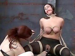 Busty slave girl has bondage sex with lesbian mistress BDSM