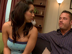 Cock hungry brunette blows a monster cocks in this fetish action