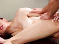 Beautiful masseuse Anna De Ville gets her slit fucked on the massage table