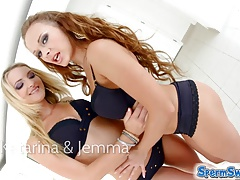 Spermswap two blonde hotties share one guys sperm after