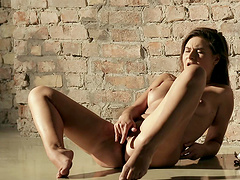 The rough wall act the playing ground or rather masturbation bay for horny brunette