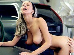 Reality car fucking seen as brunette rides huge dick hardcore