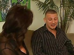 Sexy ass brunette milf in black stockings gets nailed by muscled guy