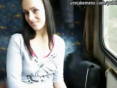 Lusty amateur brunette euro girl convinced to flash and licked her tits and gets her pussy banged in public train