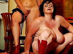 Painful  cock-controling BBW femdom action