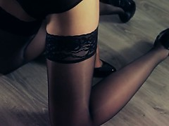 Hot babes sex with strap in garters