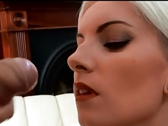 Beautiful blonde euro Angel gets a facial