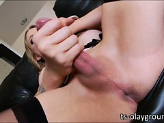 Stunning tgirl Nadia Alekandra fires cum
