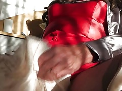 Viola satin blouses & red lingerie