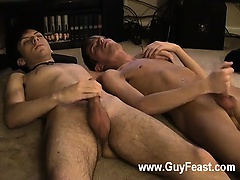 Hot gay sex Jared is nervous about his first time jacking off on