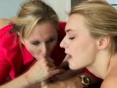 Pretty Blonde MILF And Hot Teen Girl Sharing Facial Cumshot